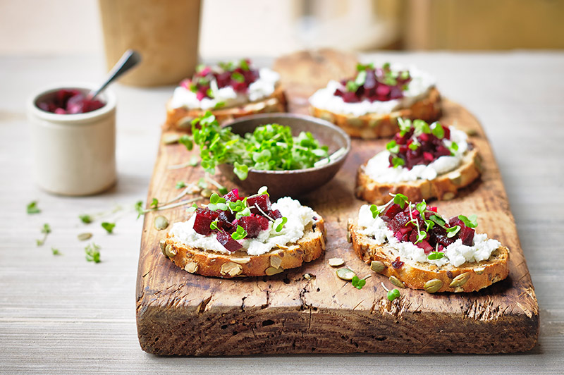 Salad cress, Beetroot and Goats Cheese Crostini