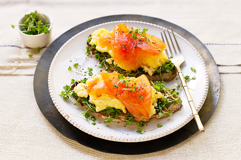 Smoked Salmon, Scrambled Egg and Salad Cress on Sourdough