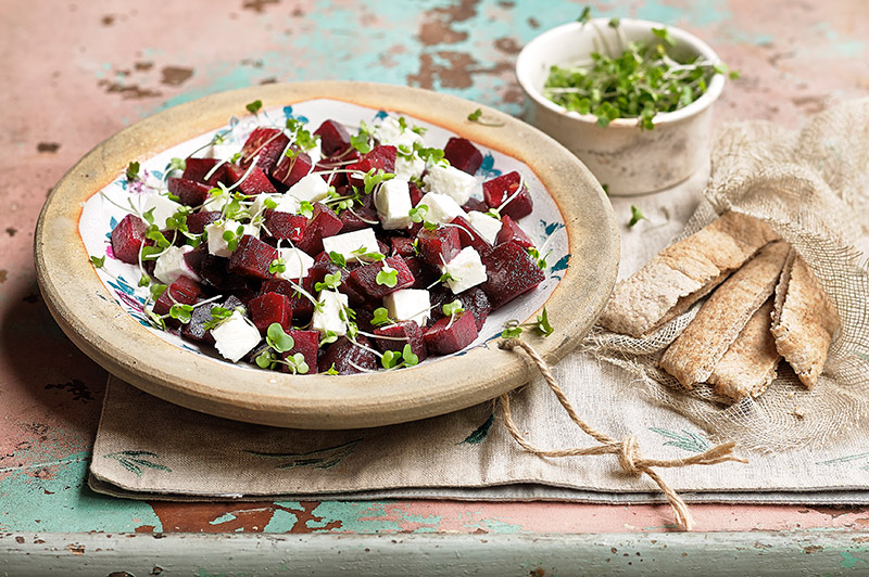 Salad cress, feta and beetroot salad