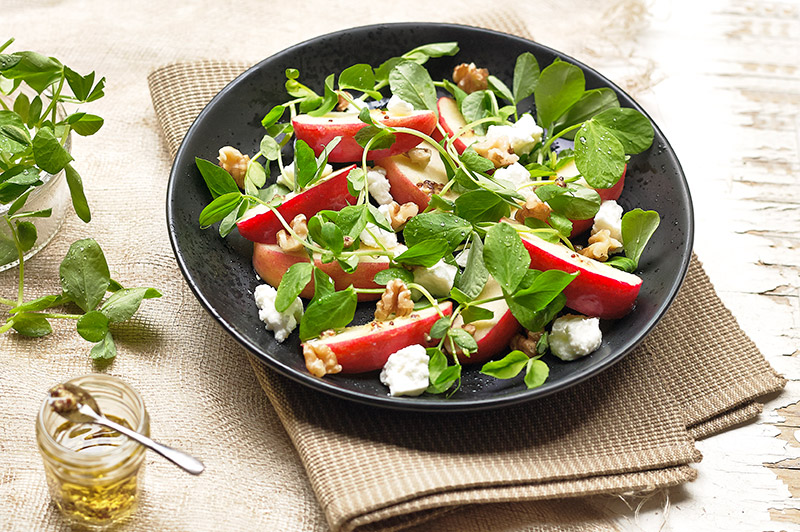Pea shoots, apple, feta and walnut salad