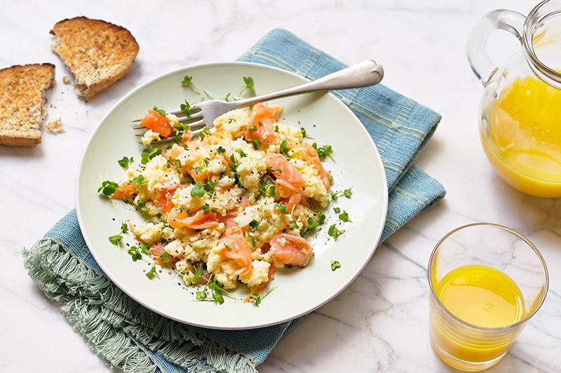 Salad cress, salmon and salad cress