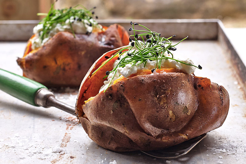 Sweet potato with garlic chives