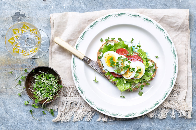 Egg and Cress Salad Open Sandwich