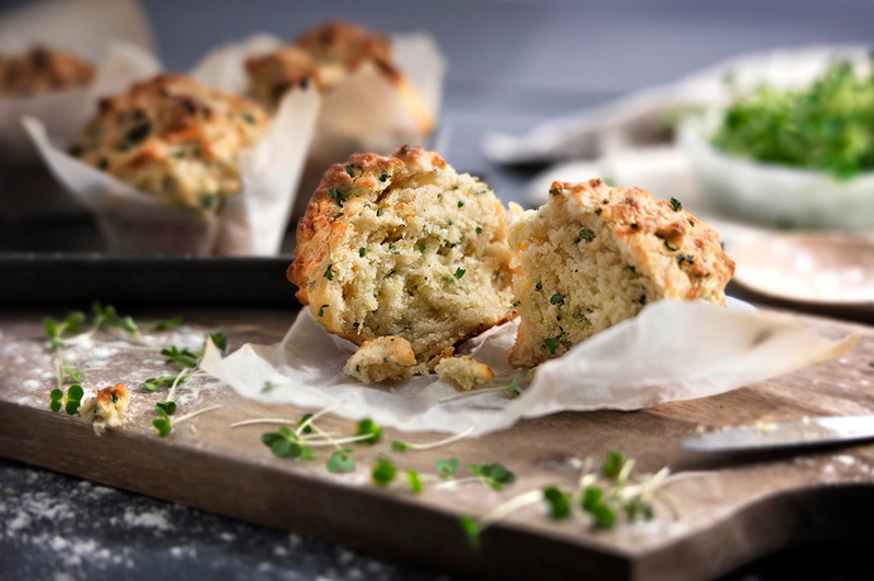 Salad cress and cheese muffins