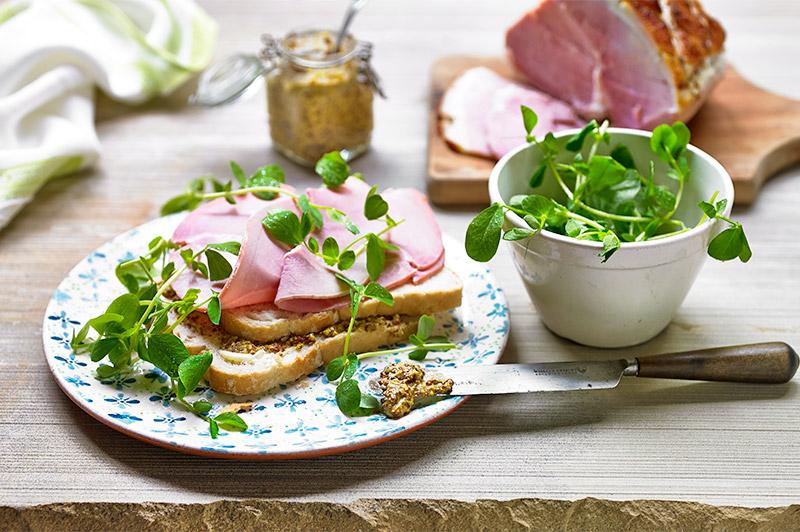Ham and pea shoots sandwich
