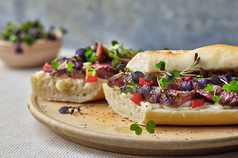 Beef-Steak-Baguette-with-Micro-Mixed-Mustard