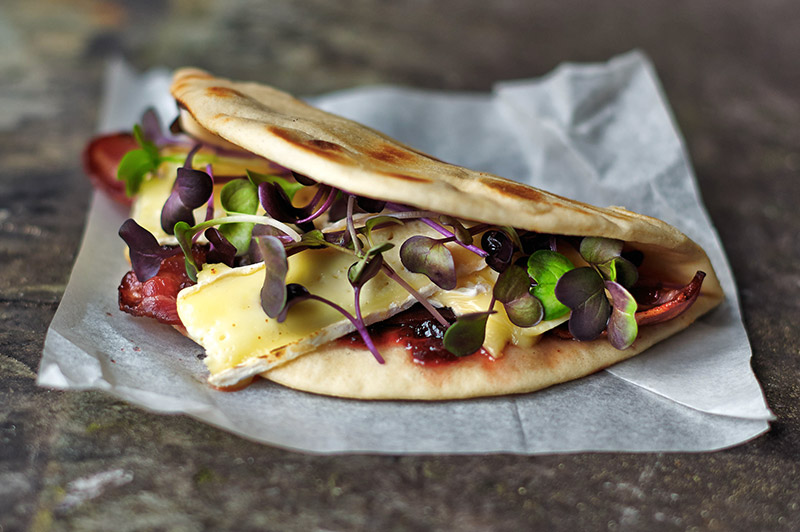 Brie and Bacon Flatbread with Micro Purple Radish