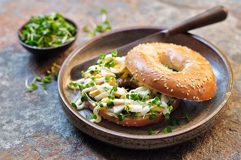 Egg Mayonnaise Bagel with Salad Cress