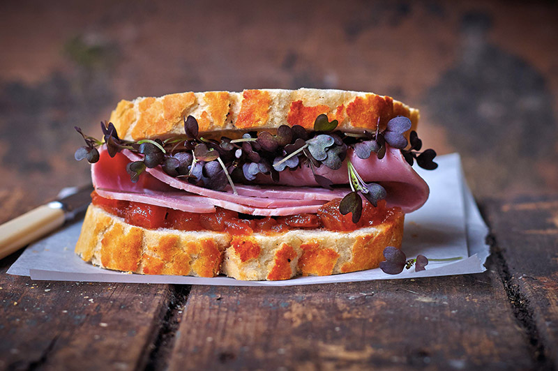 Ham Sandwich with Micro Red Mustard