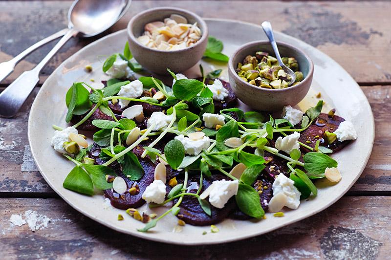 Pistachio Pea Shoots Salad