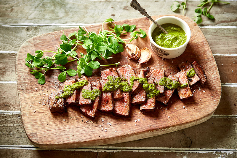 Sirloin Steak with Pea Shoots Salsa Verde