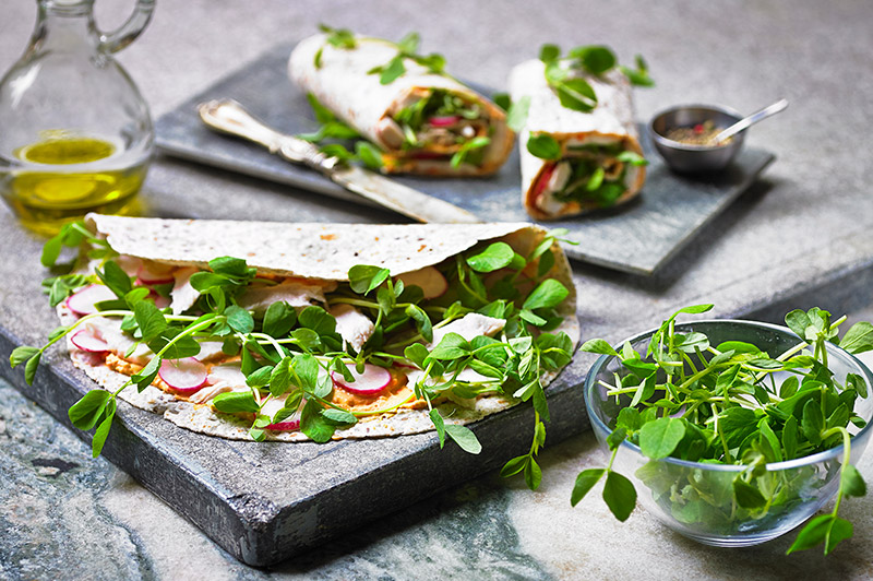 Chicken Wrap with Roasted Red Pepper Houmous & Pea Shoots
