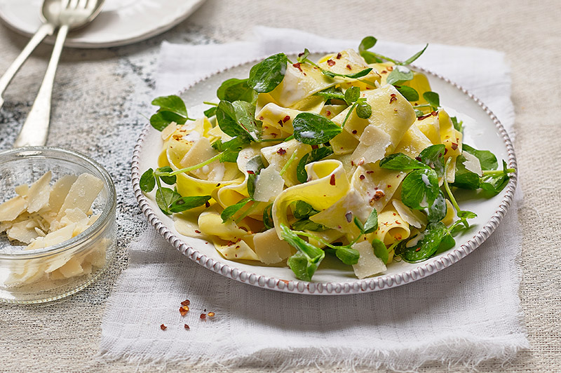 Pappardelle with Pea Shoots & Chilli Flakes