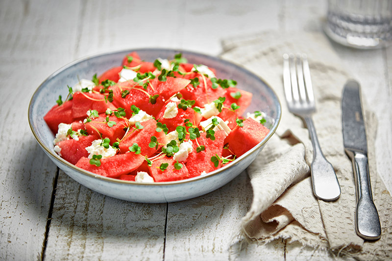 Watermelon, feta cheese and salad cress salad