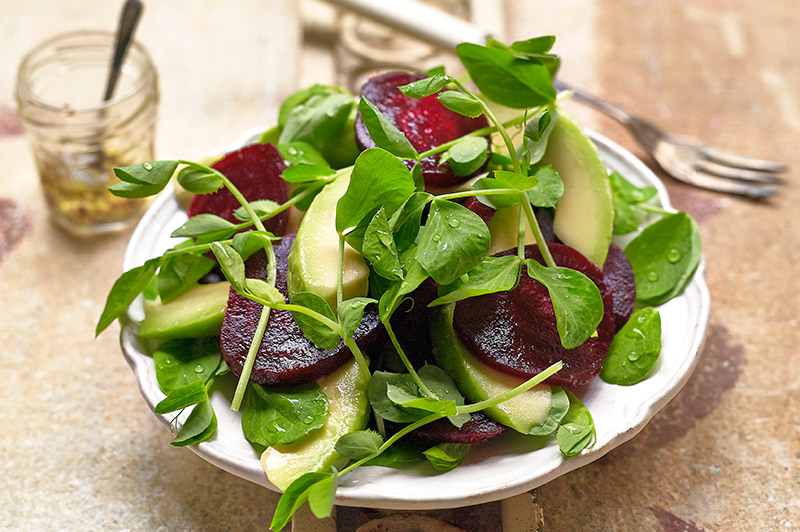 Beetroot, Avocado and Pea Shoots Salad