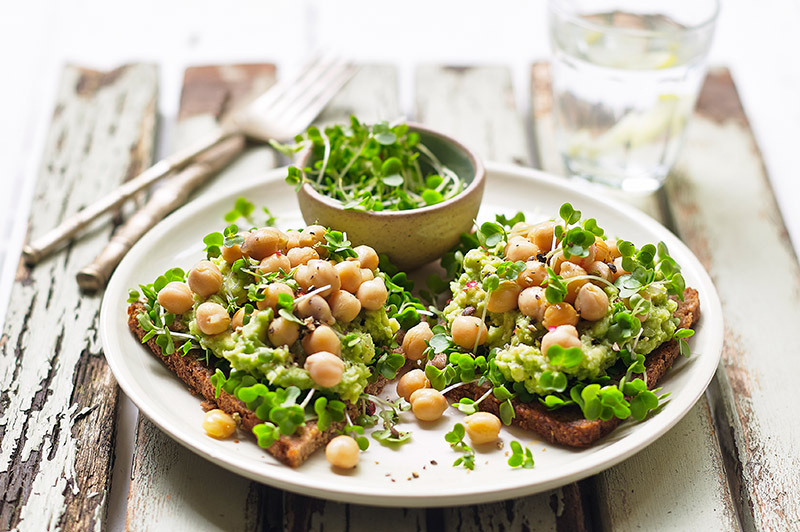 Salad Cress, Avocado and Chick Pea Open Sandwich