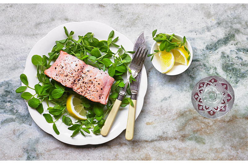 Salmon with Pea Shoots