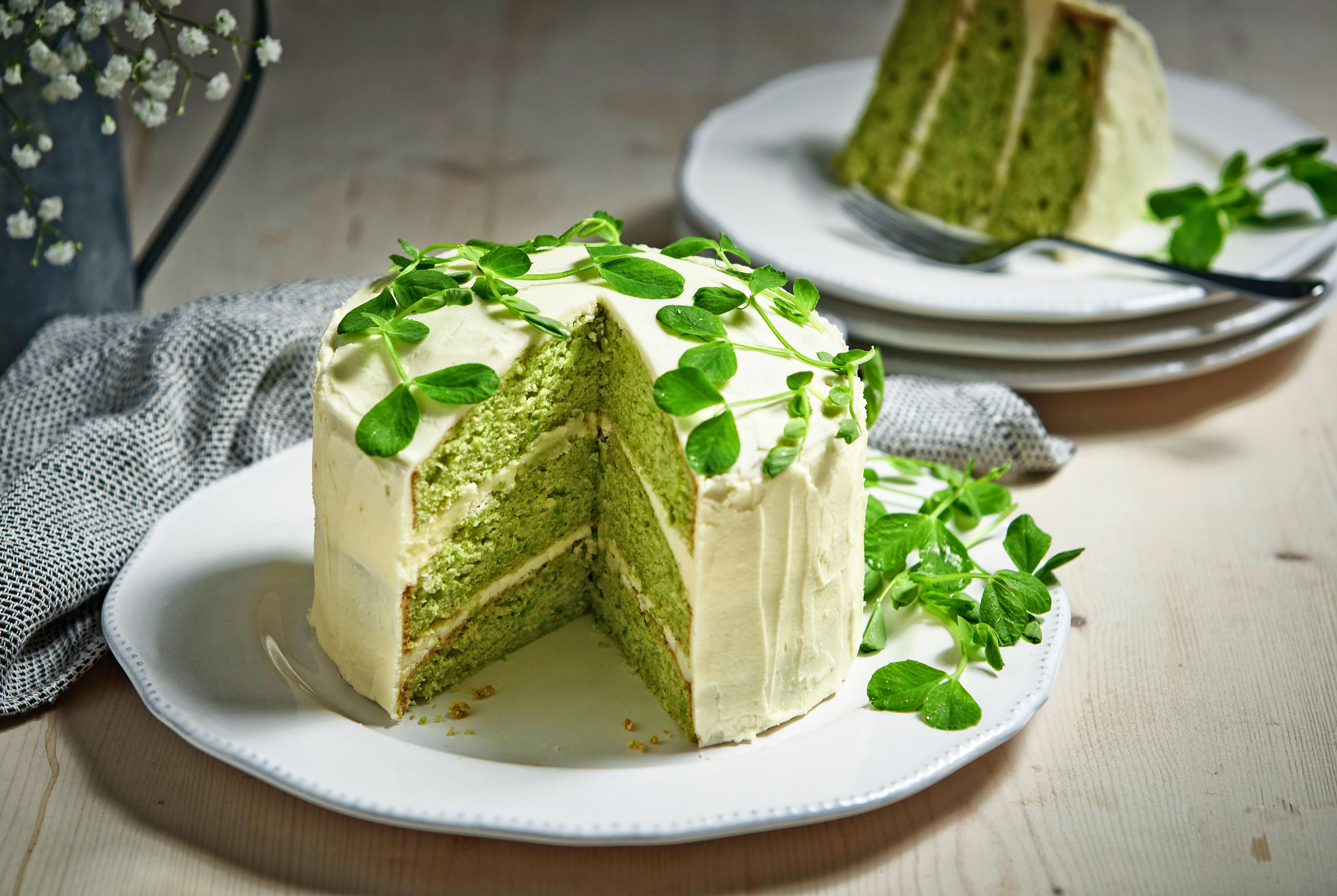 Vanilla Pea Shoots Cake