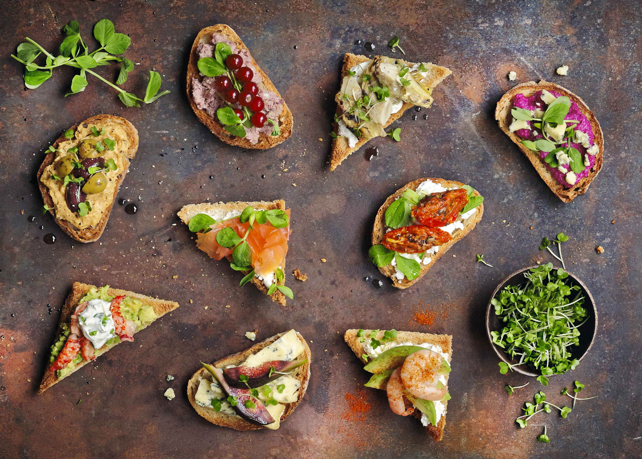 Party nibbles with salad cress and pea shoots