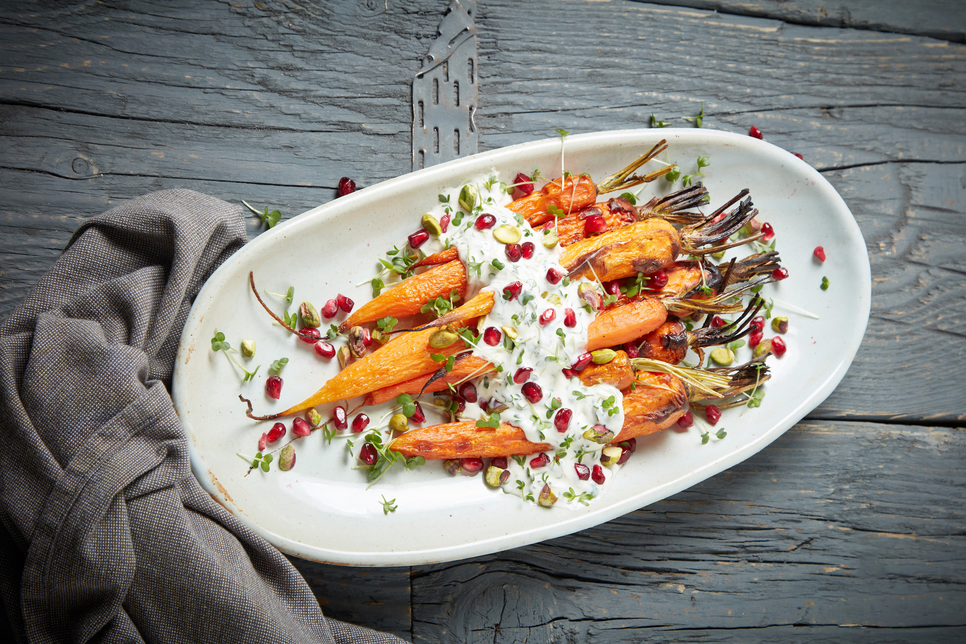 Roasted Carrots with Garlic Cress Sauce