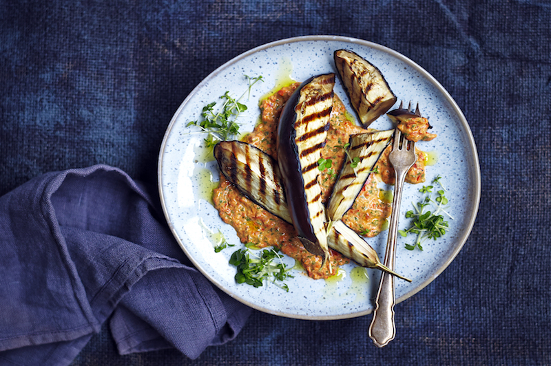 Roasted Aubergine with Salad Cress and Red Pepper Houmous