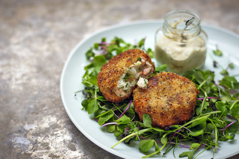 Smoked Haddock, Salmon and Cress Fishcakes