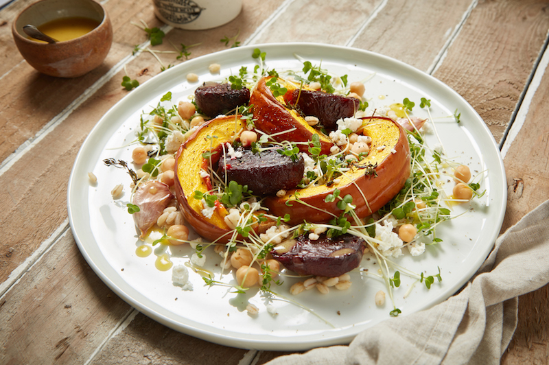 Pumpkin and beetroot salad with goats cheese and cress