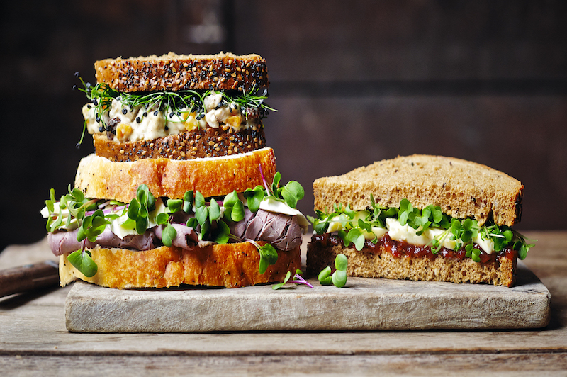 Triple Sandwiches with Microgreens