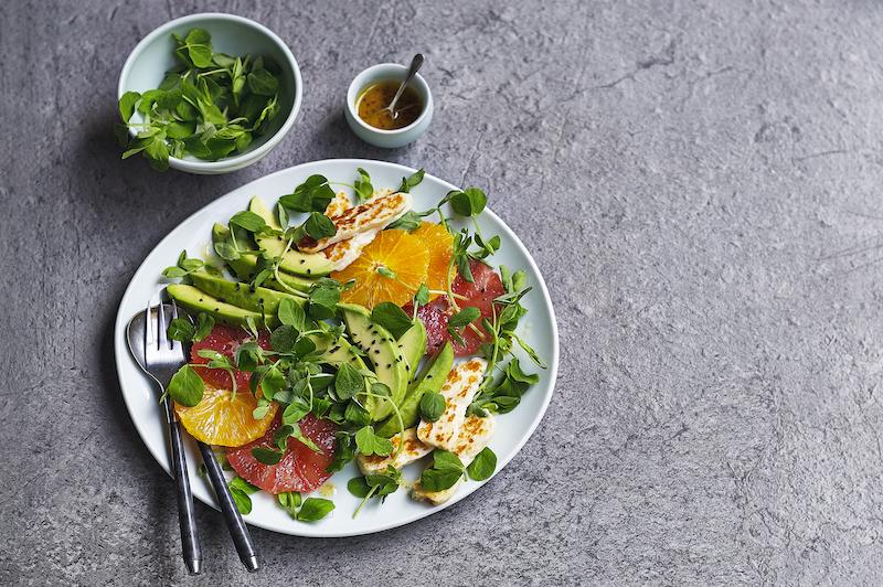 Citrus Salad with Pea Shoots, Halloumi & Avocado