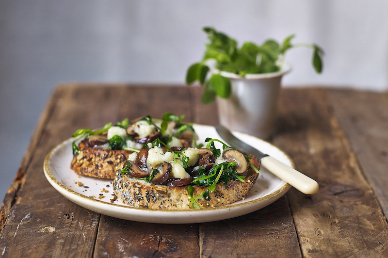 Sautéed Mushrooms & Pea Shoots with melted Goat's Cheese on Sourdough