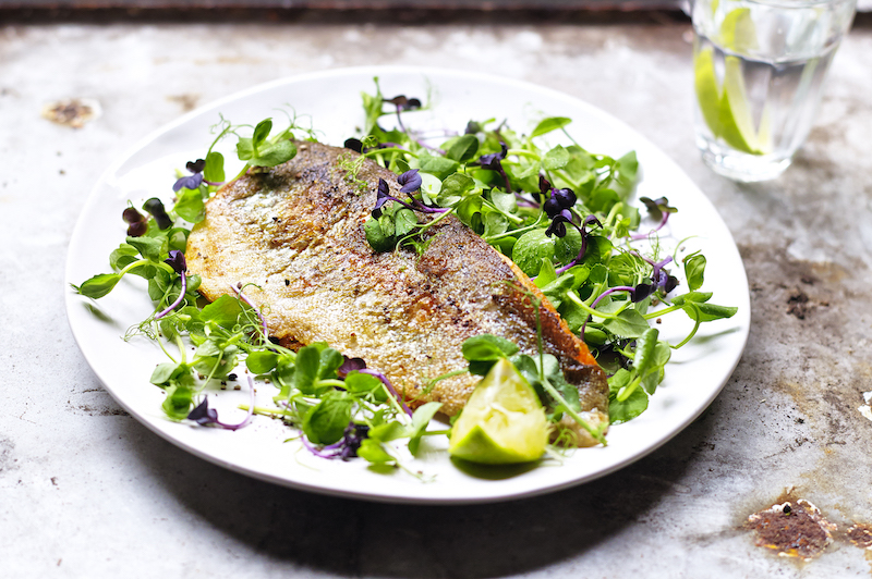 Lemony Trout with Pea Shoots
