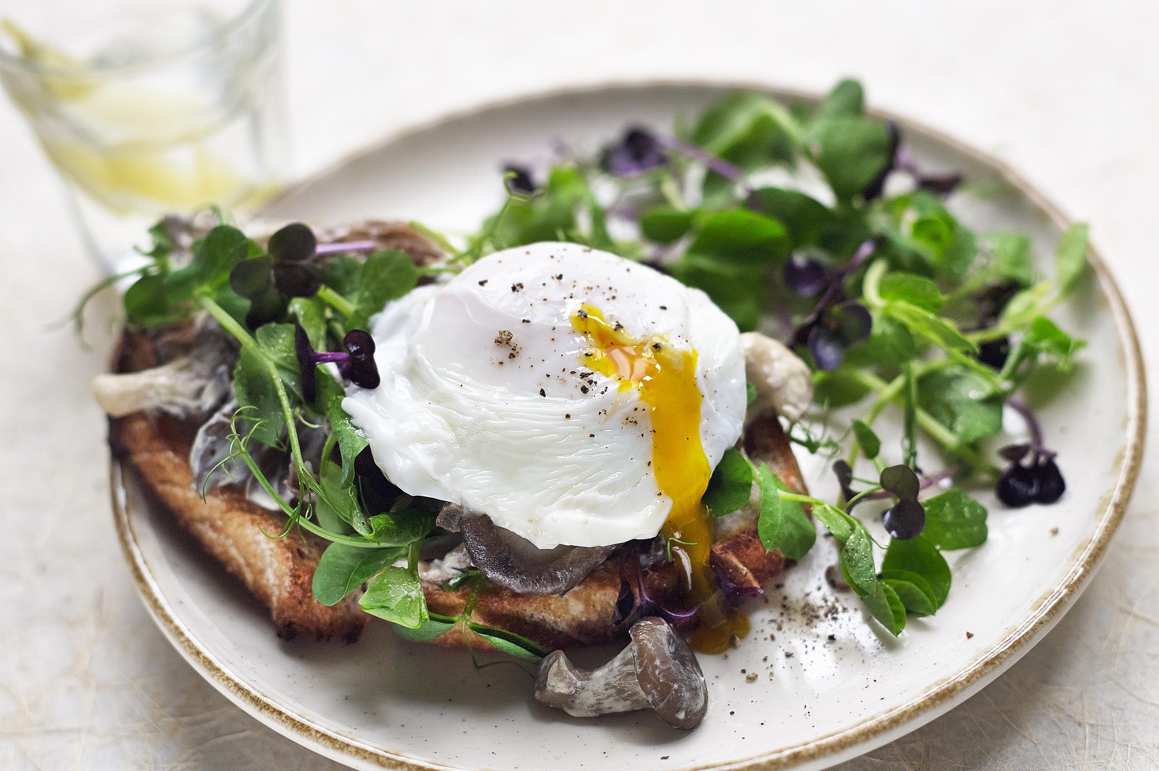 Creamy Mushrooms, Pea Shoots & Poached Egg Toast