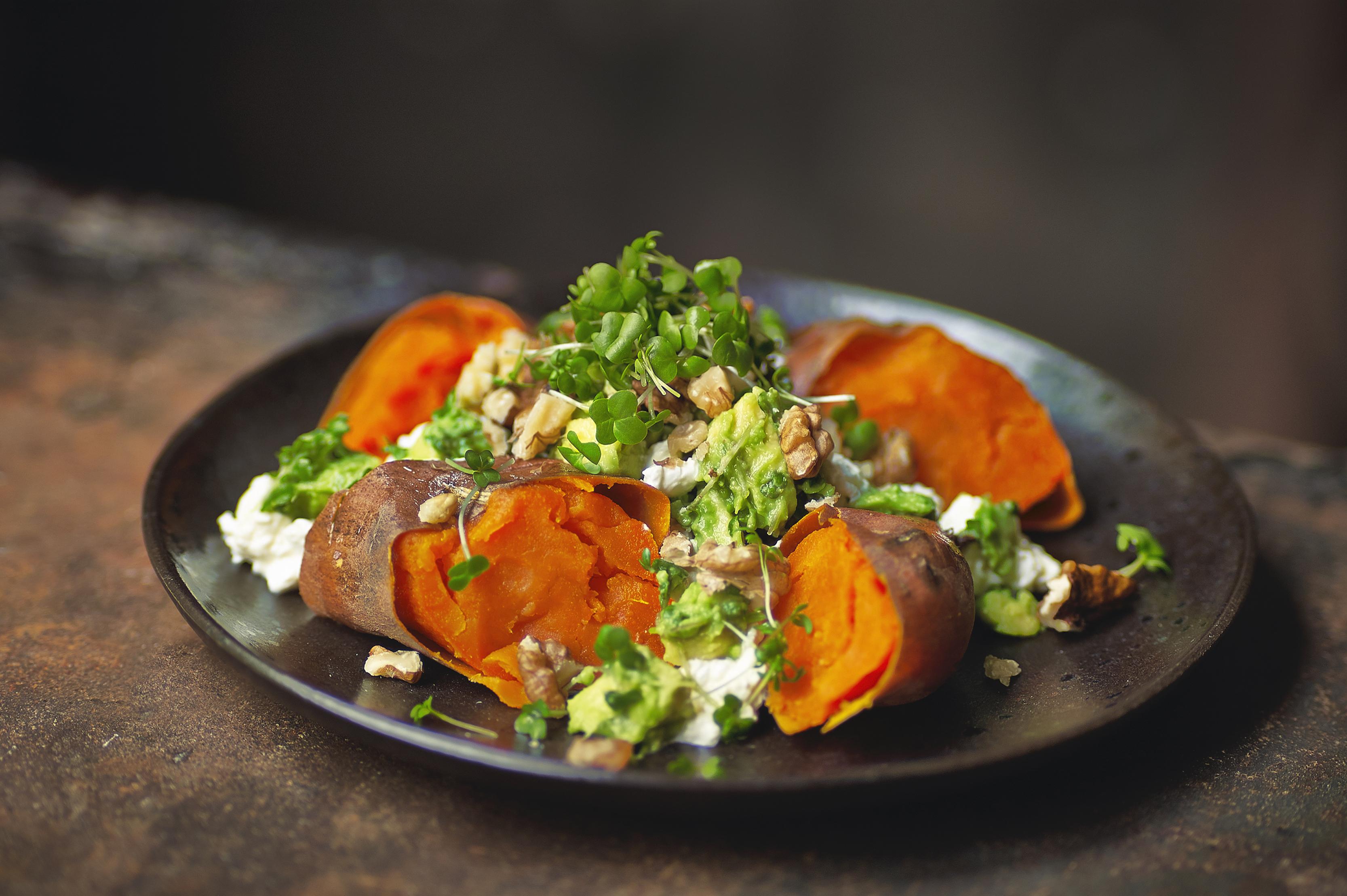 Baked Sweet Potato with Salad Cress, Cottage & Avocado