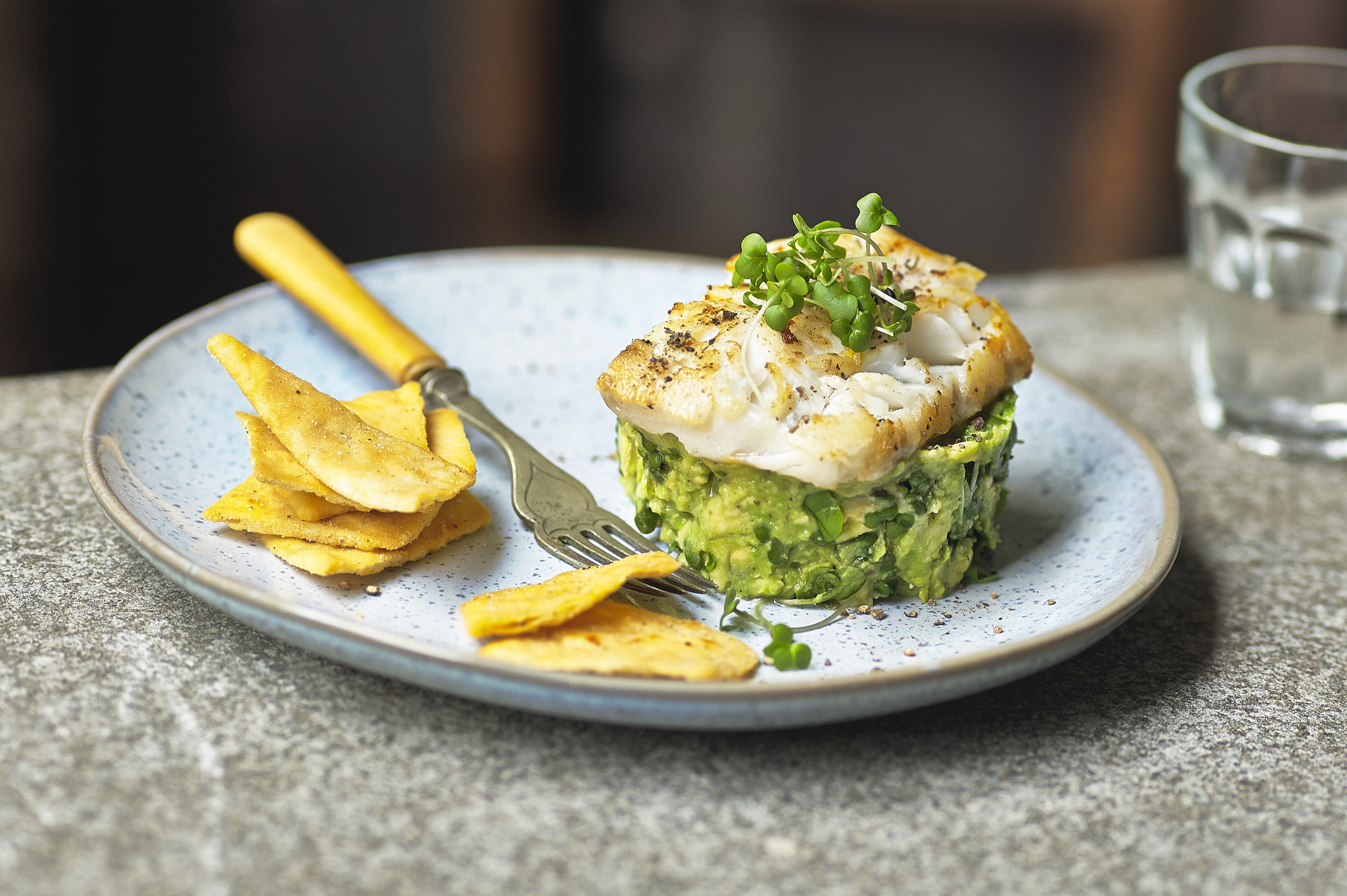 Salad Cress, Avocado Tartare with Pan Fried Cod