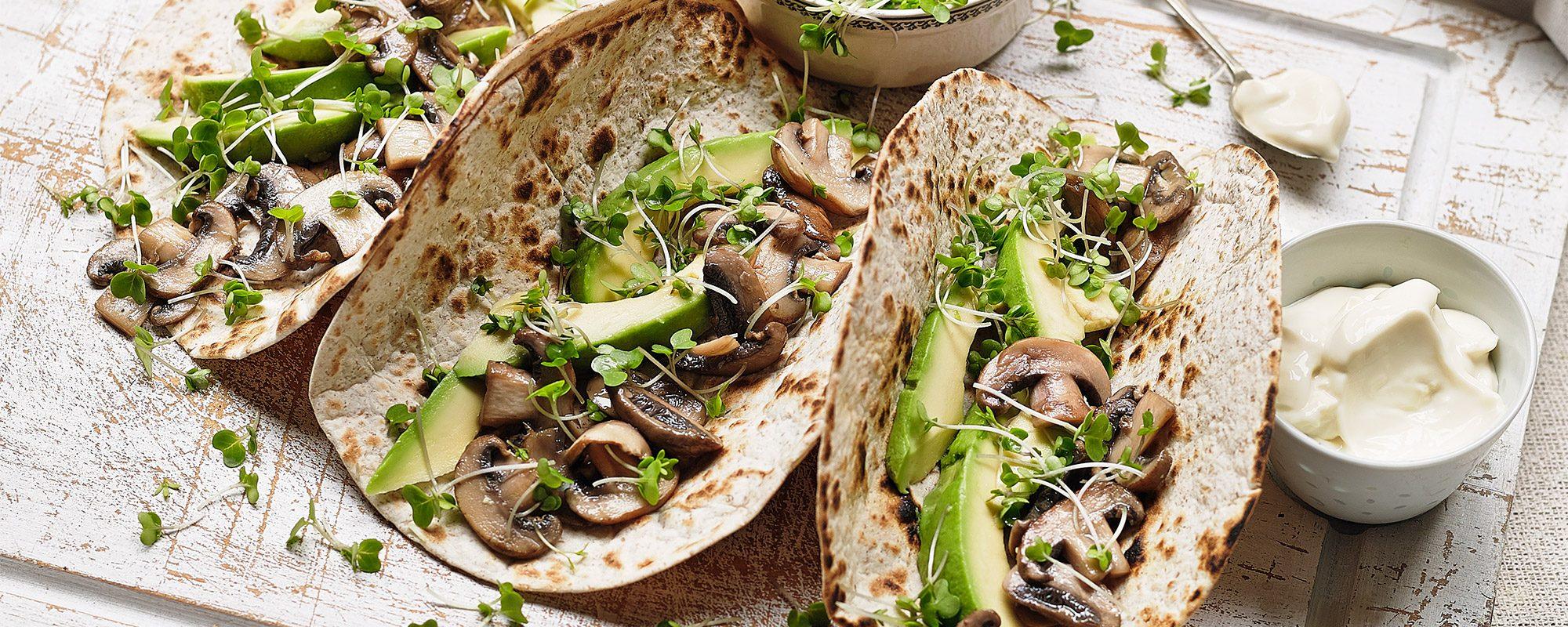 Mushroom, Avocado & Salad Cress Tacos with Sour Cream