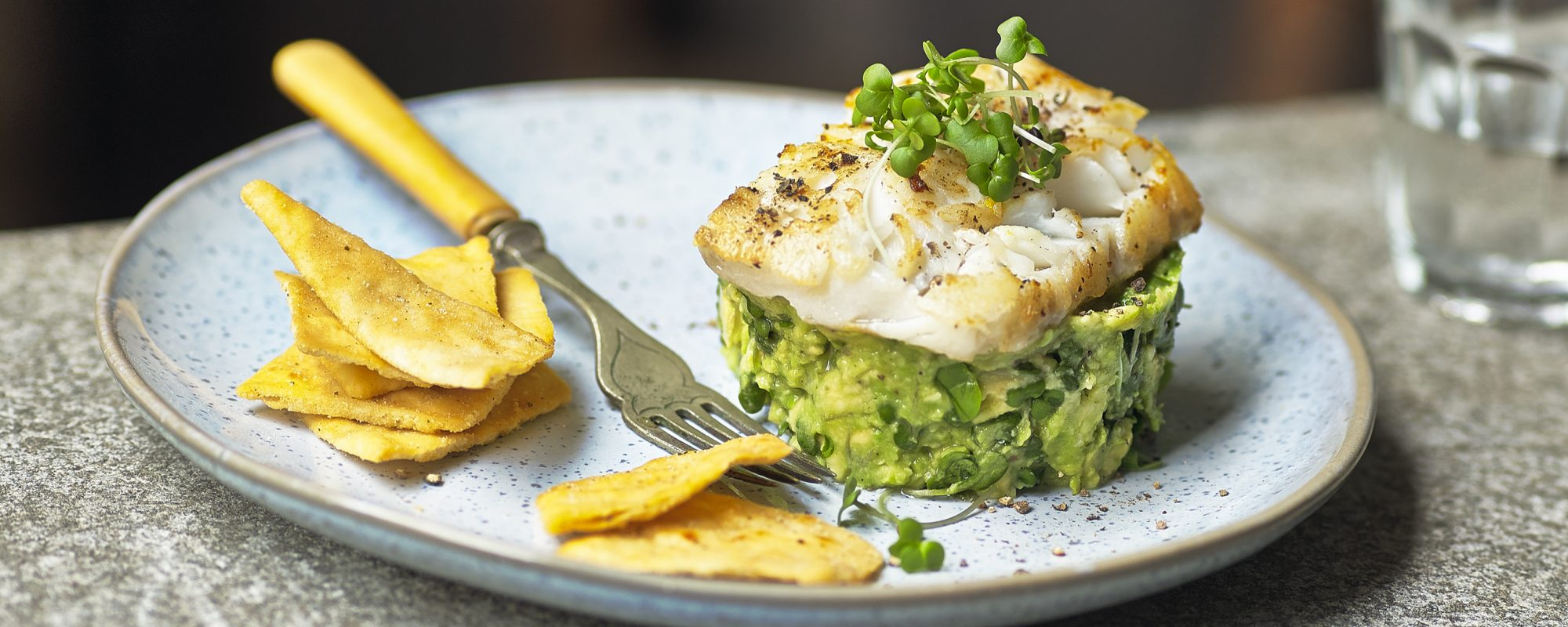 Salad Cress, Avocado Tartare with Pan Fried Cod