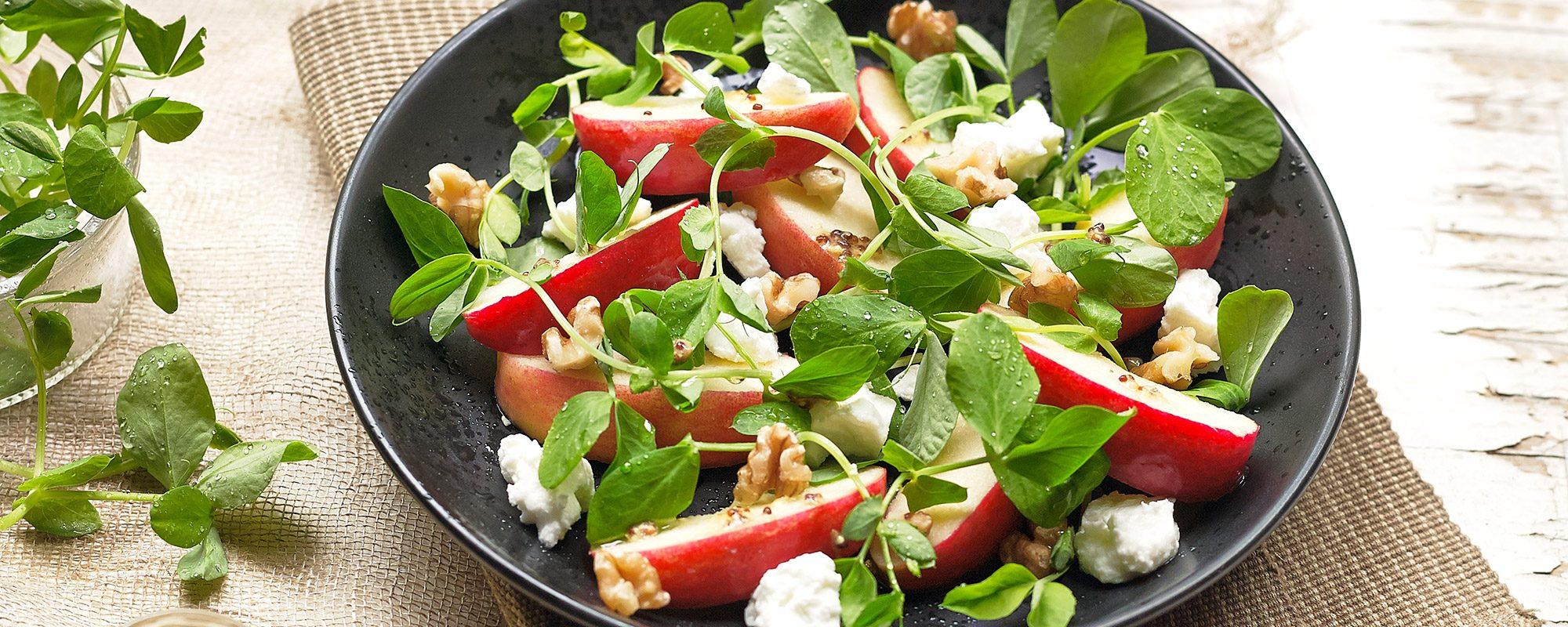 Pea shoots, apple, feta and walnut salad
