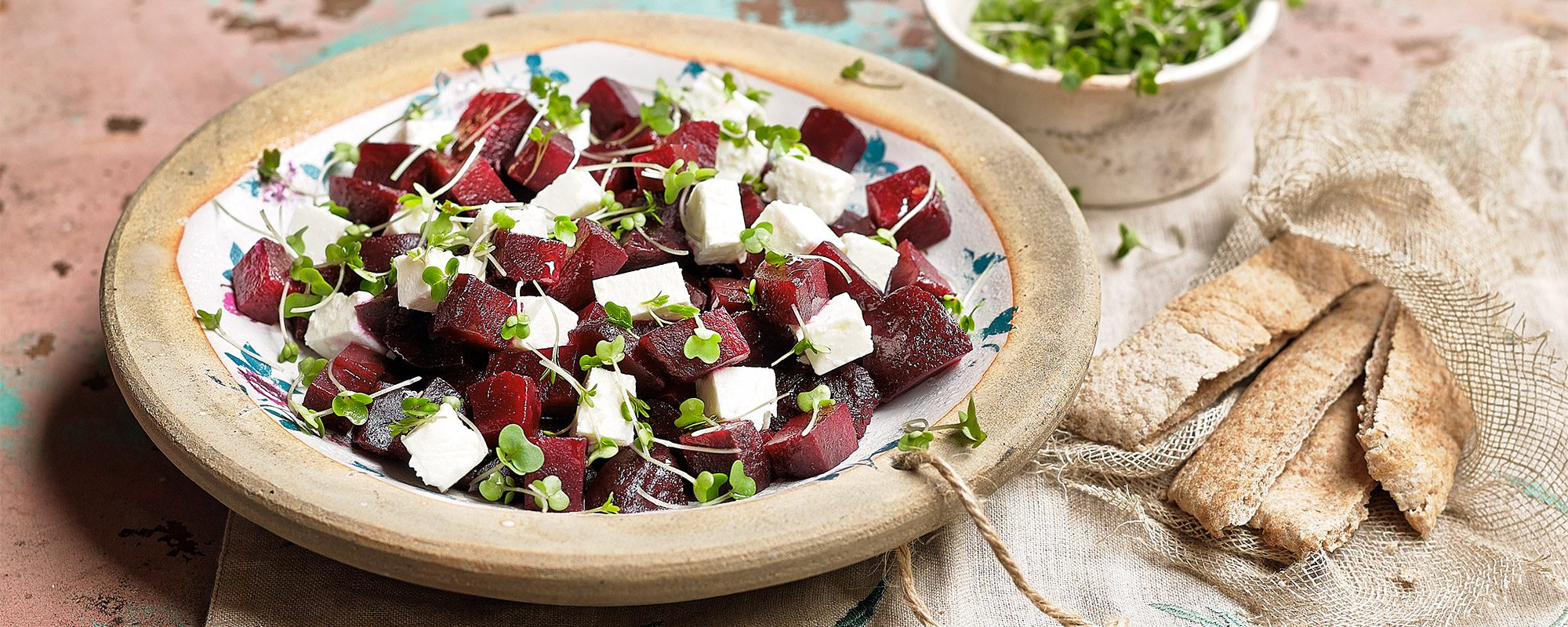Salad cress, beetroot and feta salad