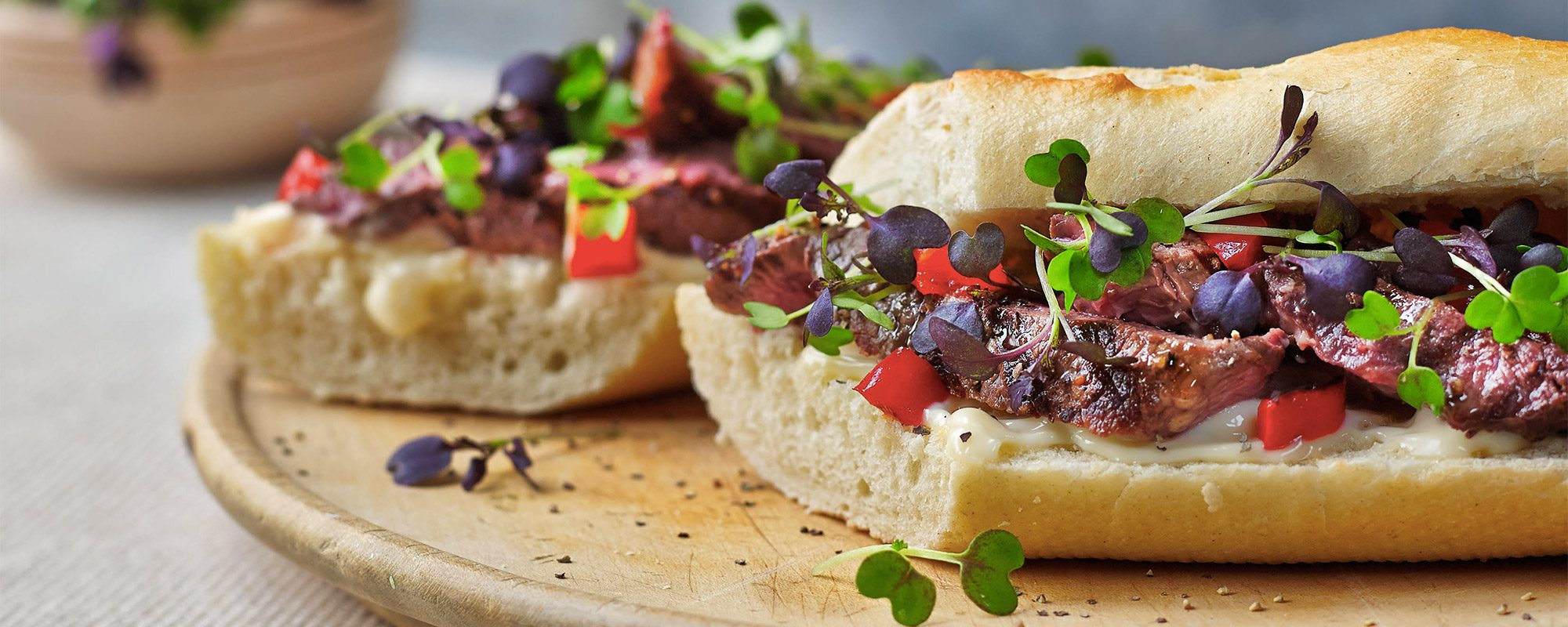 Beef Steak Baguette with Micro Mixed Mustard