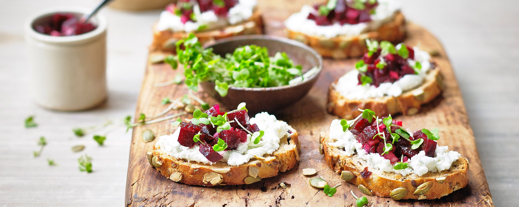 Beetroot and Goats Cheese Crostini