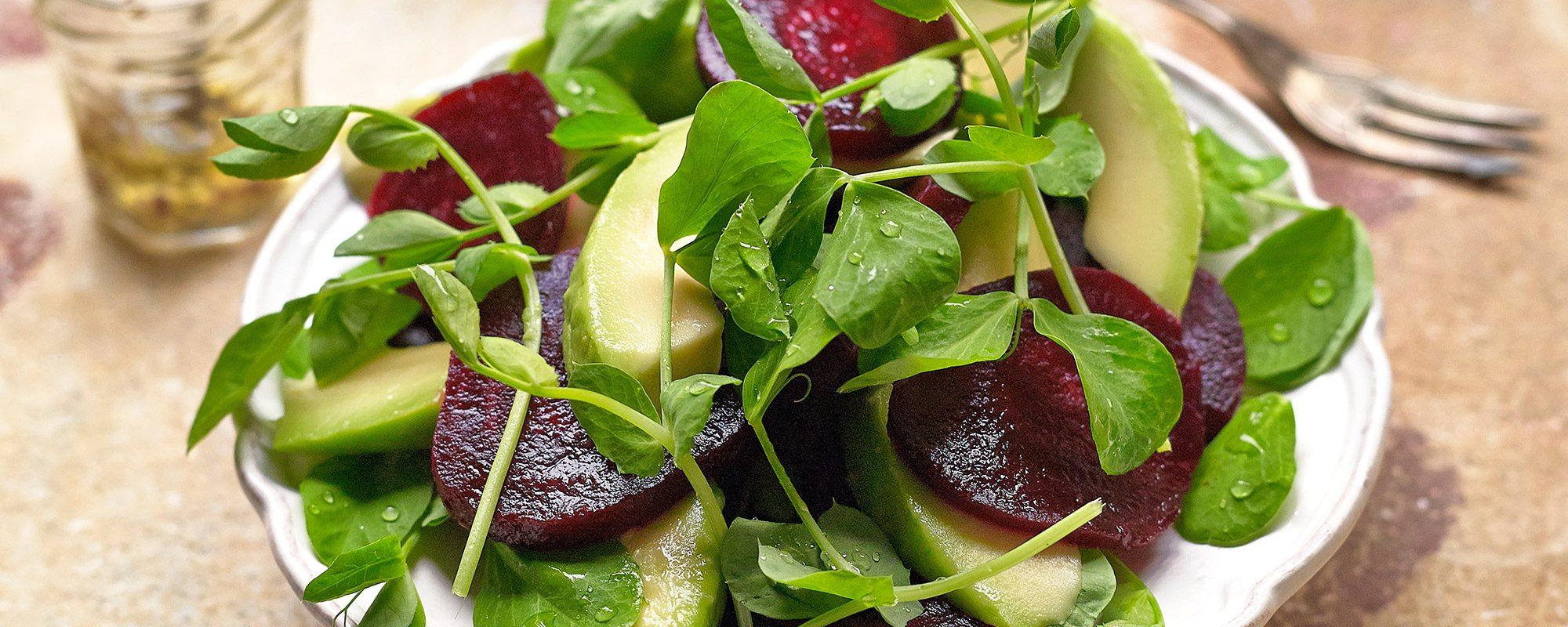 Beetroot, Avocado and Pea Shoots Salad