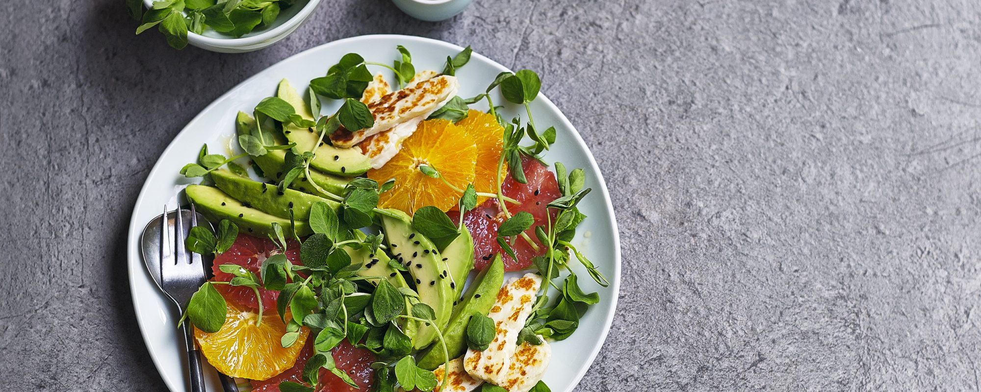 Citrus Salad with Pea Shoots, Halloumi & Avocado
