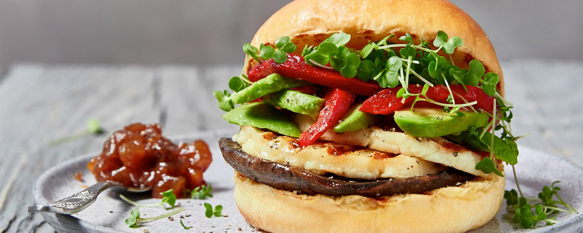 Halloumi and cress burger