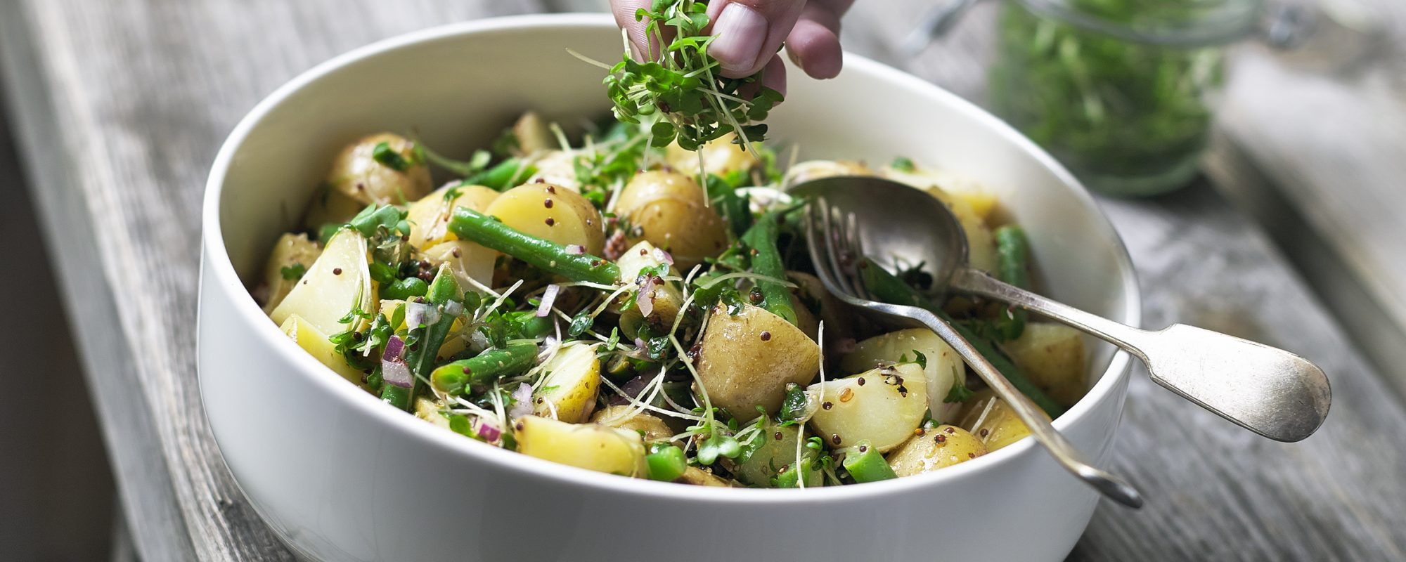 Green Beans, Salad Cress & New Potato Salad