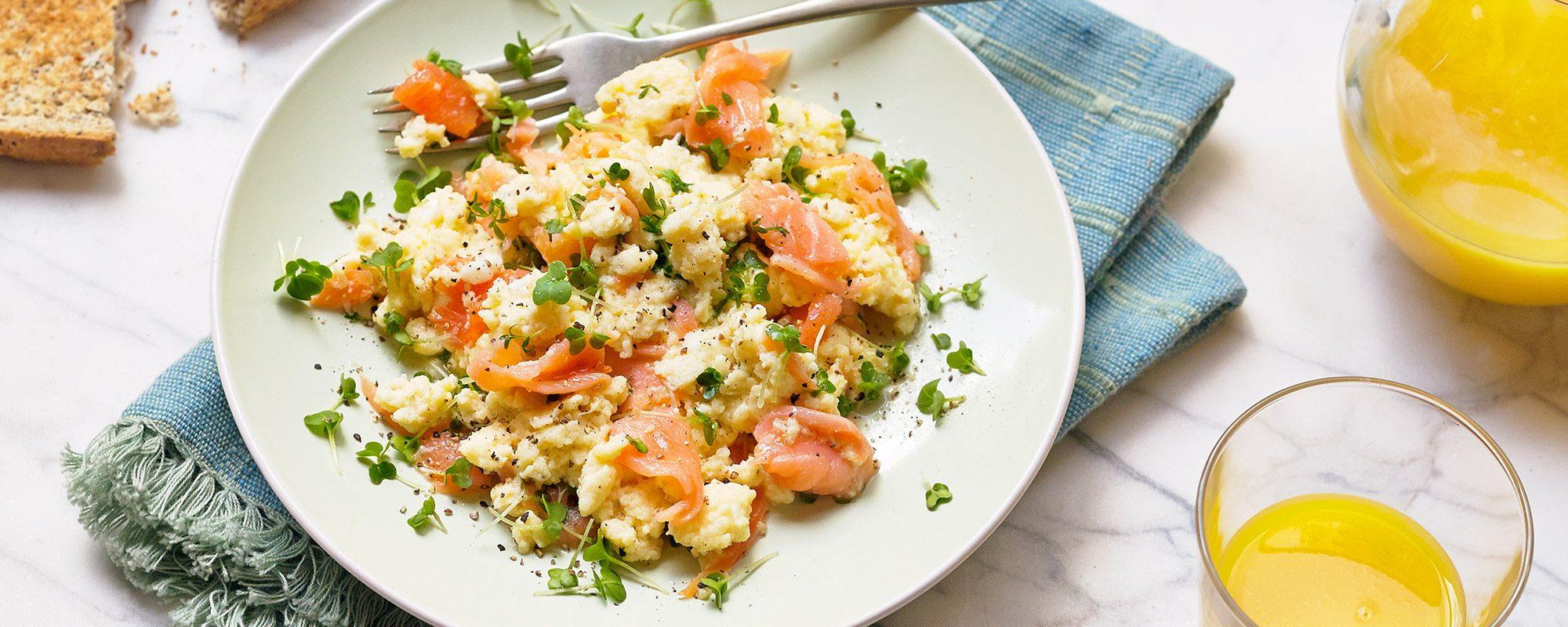 salad cress, smoked salmon and scrambled eggs