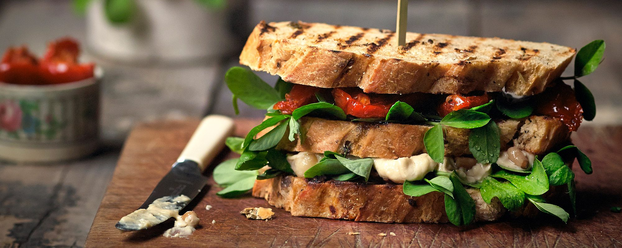 Sundried tomato, houmous and pea shoots sandwich