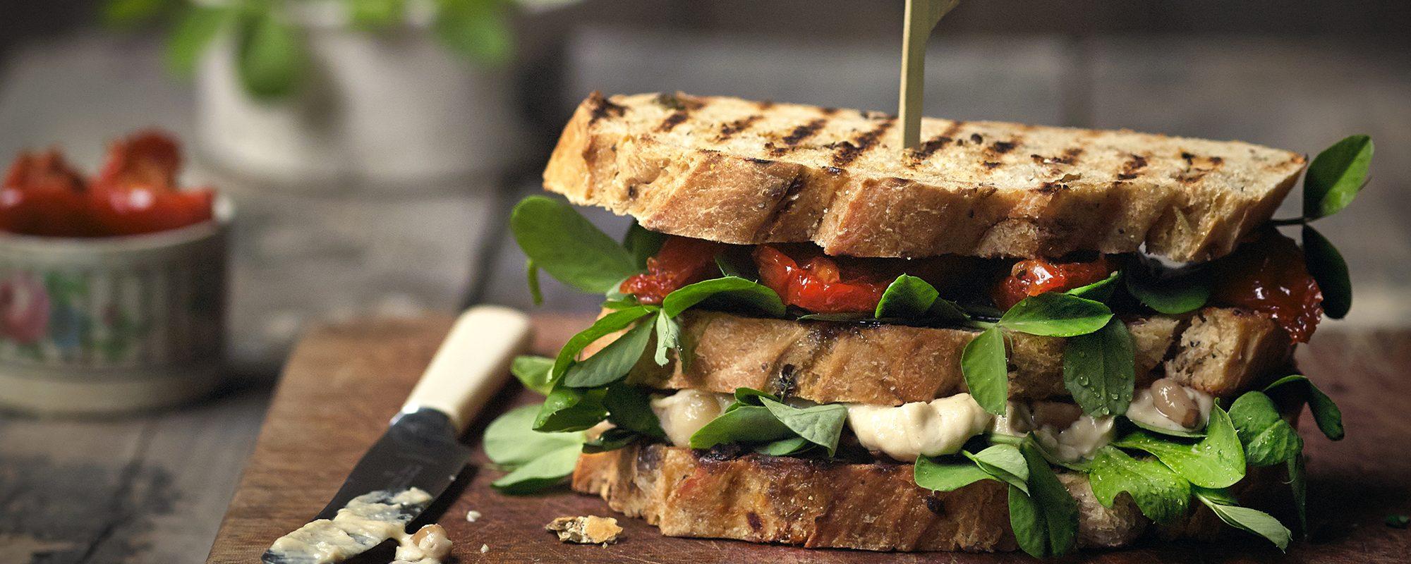 Sundried tomato, houmous and pea shoots sandwich