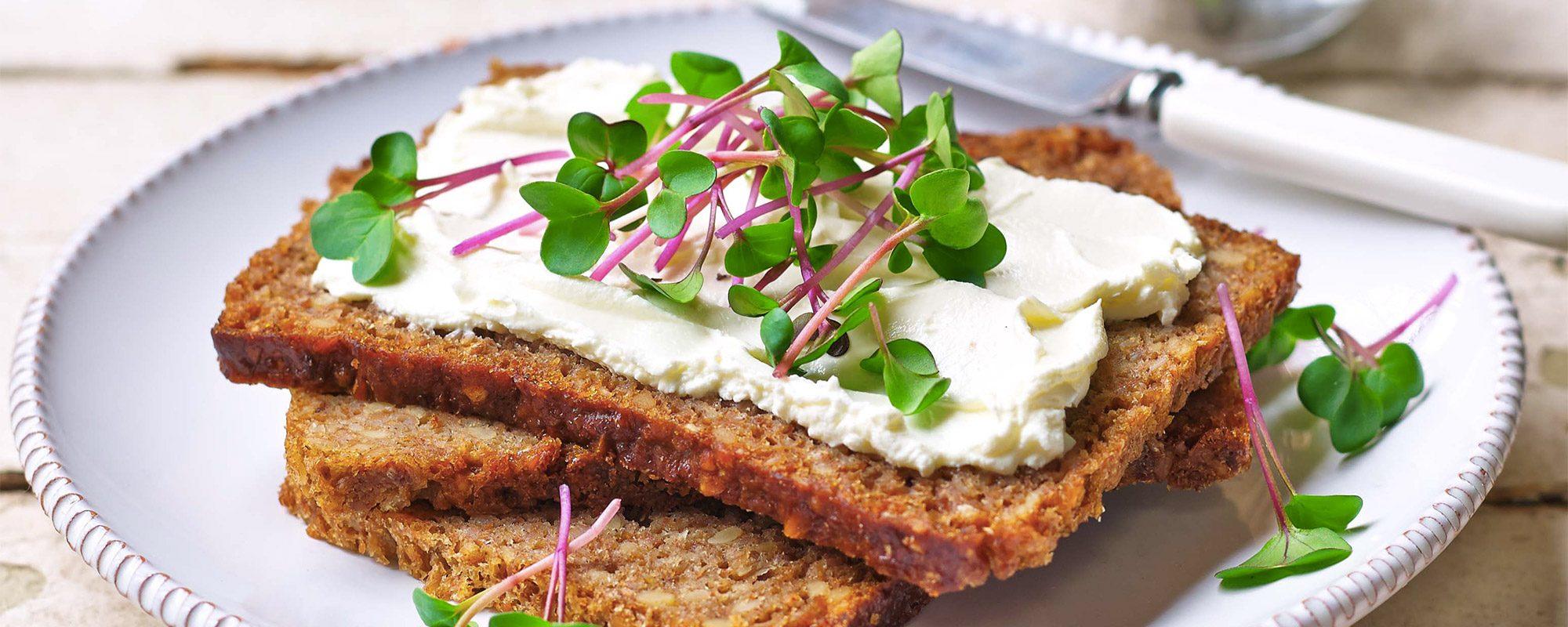 Cream Cheese and Pink Radish on Rye Bread