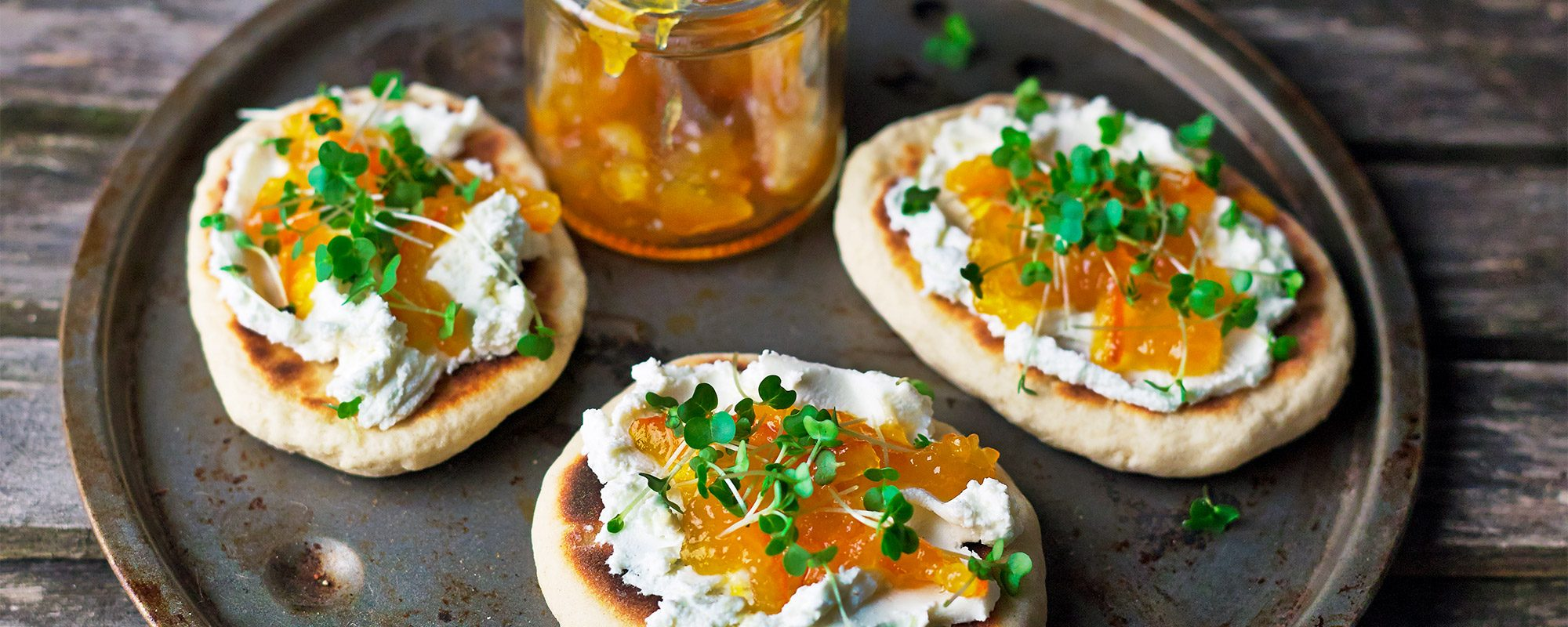 Goat's Cheese, Marmalade and Salad Cress Flatbreads