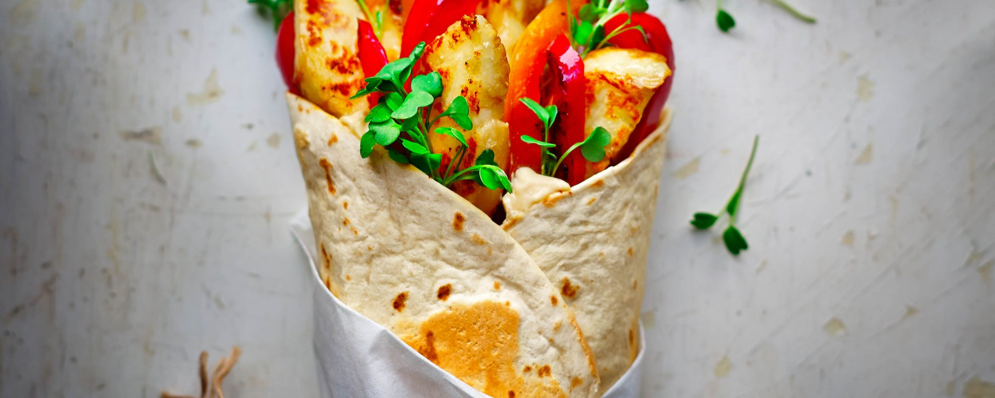 Halloumi wrap with salad cress